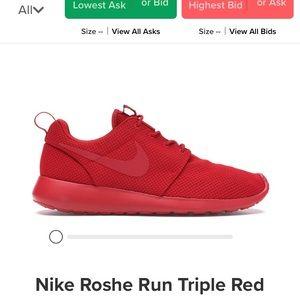Brand new triple red roshe ones